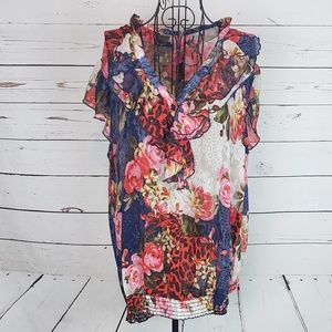 Pure Energy Floral Ruffle Sleeve Tunic Size 1